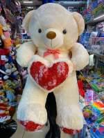 Urs crem cu trandafir pe inima 1m