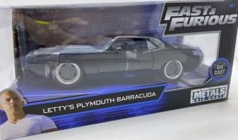 Macheta metal Fast and Furious Letty Plymouth Barracuda scara 1: