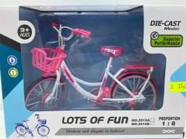 Bicicleta alb cu roz de jucarie