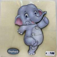 Puzzle lemn elefant 5 piese
