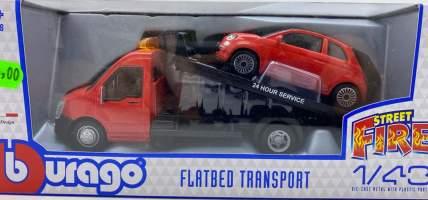 Flatbed Tow Truck platforma auto cu masinuta Fiat 500 1:43
