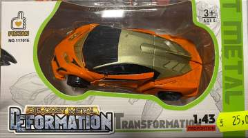Masina Transformer portocalie metal