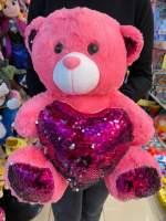 Urs de plus cu paiete pe inima roz