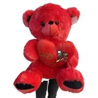 Urs de plus cu inima si fundita 55cm rosu
