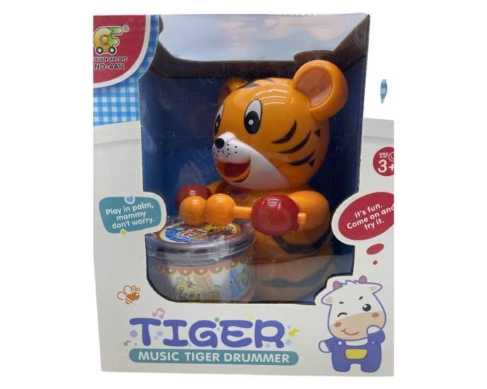 Jucarie tigru tobosar cu baterii