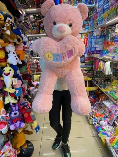 Urs roz cu inima LOVE Love