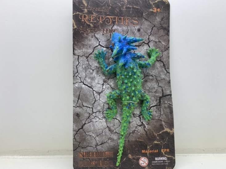 Jucărie șopârlă albastră verde țepoasa