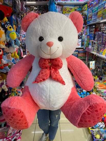 Urs bicolor roz alb cu papion 1m