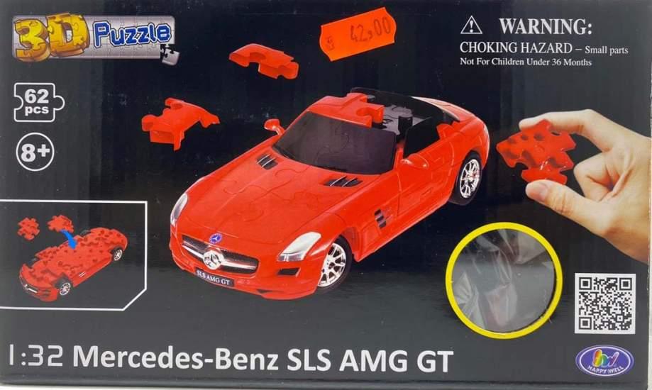 Puzzle 3D Mercedes Benz SLS AMG gt, rosu
