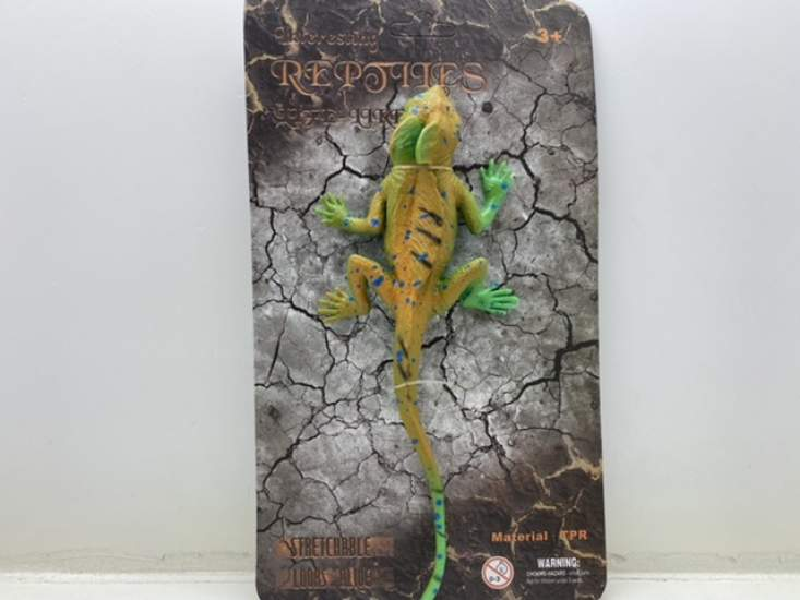 Jucărie șopârlă galben verzui cu creastă